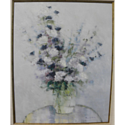 American impressionist painting flowers in a vase signed
