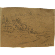 ARTHUR CLIFTON GOODWIN (1864-1929) pencil drawing of Berkshires by one of Boston's most loved artists