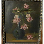 OSCAR MILLER (1867-1921) still life painting of roses in vase by noted Rhode Island artist