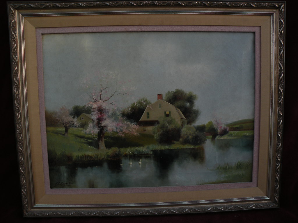 American impressionist art early 20th century painting of lake and cottage style of Henry Pember Smith