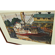 Watercolor painting of tug boat in harbor signed and dated 1950
