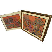 MANE-KATZ (1894-1962) **pair** original lithograph prints by the major Jewish artist