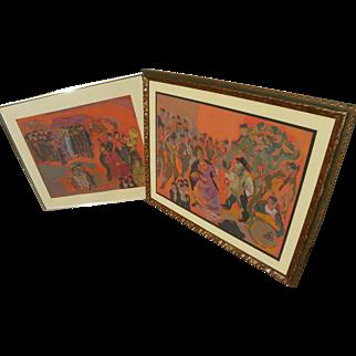 MANE-KATZ (1894-1962) **pair** original lithograph prints by the major Jewish artist