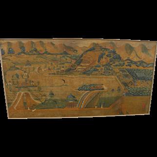 19th century Chinese art very large antique panel painting of Yiheyuan summer palace near Beijing