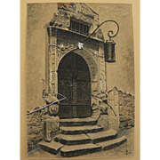 Watercolor drawing of a portal likely in Europe dated 1953