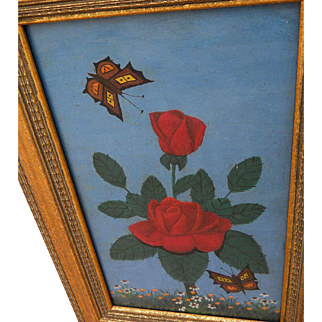 LAWRENCE LEBDUSKA (1894-1966) naive painting of rose and butterflies by noted American artist