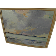 Scottish art impressionist circa 1950's oil on board seascape painting signed with initials