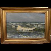 VIGGO L. HELSTEDT (1861-1926) Danish art impressionist coastal scene painting of breaking waves