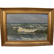 VIGGO L. HELSTEDT (1861-1926) Danish art impressionist coastal scene painting of breaking waves