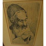 JAKOB EISENBERG (1897-1966) pencil signed etching of religious man by noted Israeli Jewish artist