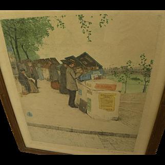 TAVIK FRANTISEK SIMON (1877-1942) aquatint print of bookstalls along the Seine in Paris by Czech artist