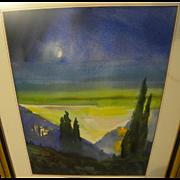 Modernist colorful watercolor landscape painting
