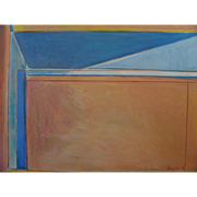 American contemporary abstract art Diebenkorn style painting signed Bergman dated 1992