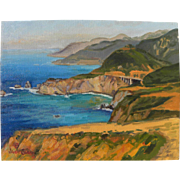 California plein air art impressionist painting of dramatic Big Sur coast