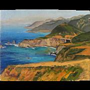 California plein air art impressionist painting of dramatic Big Sur coast