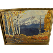 EDWARD NORTON WARD (1928-) impressionist painting of aspen and snowy peaks by contemporary American impressionist artist