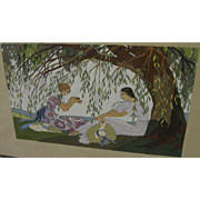 Beautiful original signed French Art Deco gouache painting two ladies under a tree