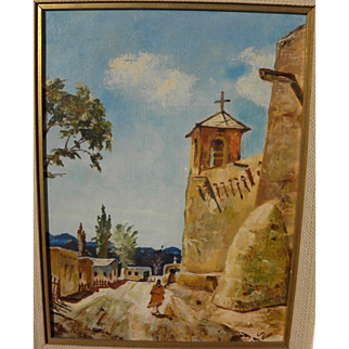 New Mexico art contemporary painting of sun washed lane with adobe mission church