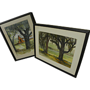 ROSCOE CARVER (1896-1982) **pair**watercolor rural landscape paintings by listed California artist