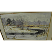 Massachusetts contemporary impressionist watercolor painting of the Charles River in winter snow by JIM HUGHES