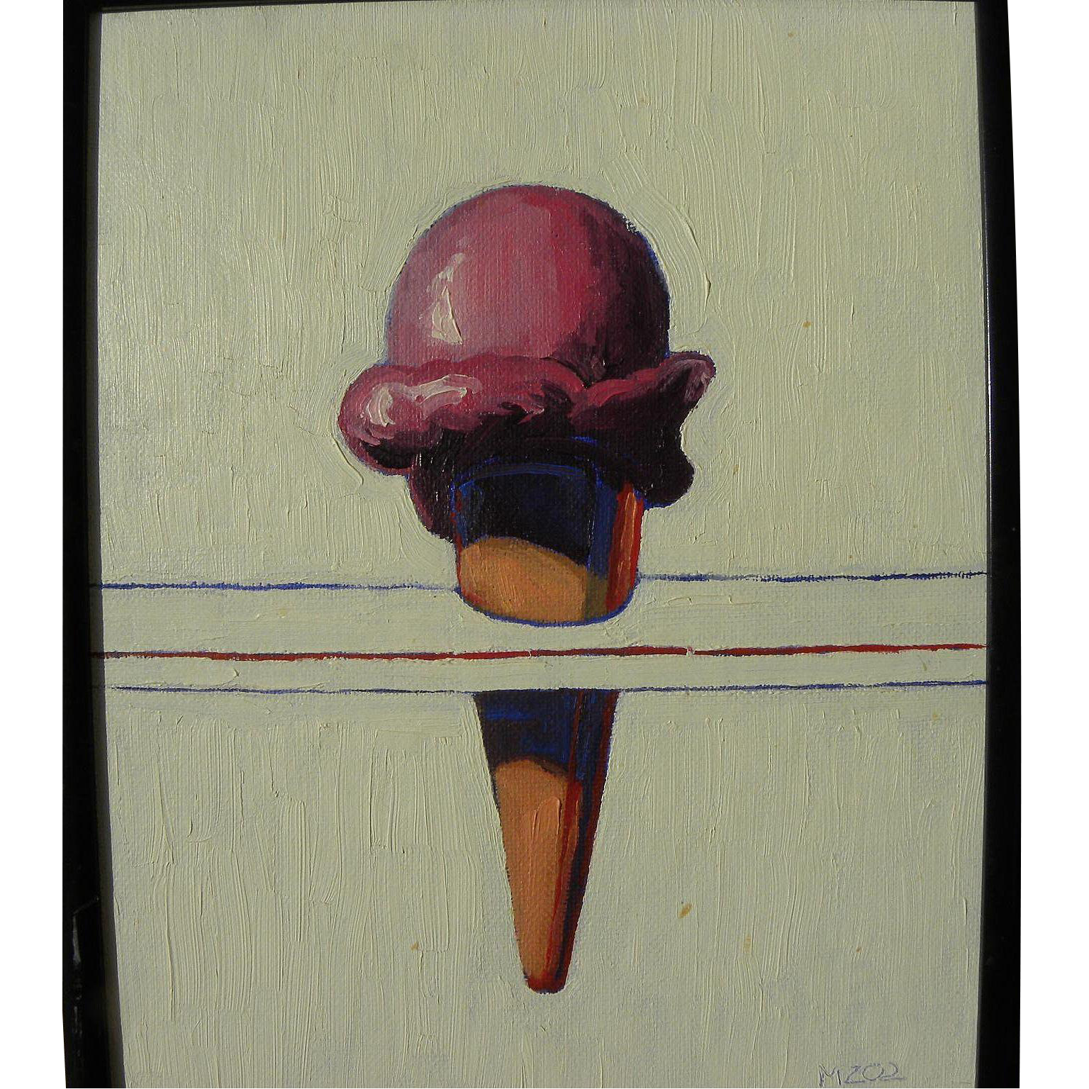 Signed 2002 contemporary painting of ice cream cone in Pop Art style of Wayne Thiebaud