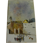 Jewish art 1985 watercolor painting of Jerusalem holy site signed Katz