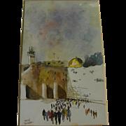 Jewish art 1985 watercolor painting of Jerusalem holy site signed Katz