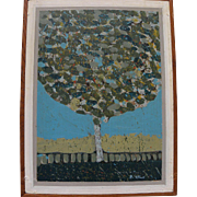 RICHARD STINE (1941-) original gouache painting of a tree by noted California contemporary artist and illustrator