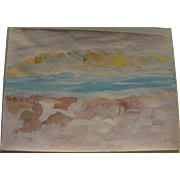 Vintage Israeli watercolor painting of the Dead Sea signed and dated 1970