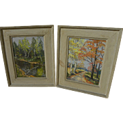 American impressionist landscape paintings *PAIR* signed and dated 1954