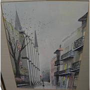 NESTOR FRUGE (1916-2011) New Orleans Louisiana art original watercolor painting