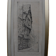 JOHN TAYLOR ARMS (1887-1953) pencil signed and inscribed 1924 etching of old building in Tours, France