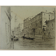 Venice Italy vintage etching of Rio dei Greci by unidentified artist