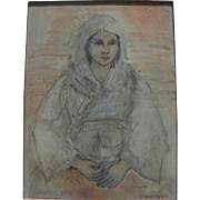 Painting of Japanese woman signed with initials dated 1958