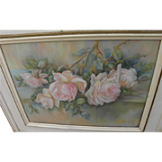 Impressionist pastel pink roses still life drawing dated 1939 signed Lora King Arnold