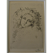 Nineteenth century etching of young woman in style of James McNeil Whistler