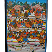 Signed Haitian art large colorful naive painting of life in a tropical village