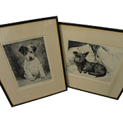 KURT MEYER-EBERHARDT (1895-1977) **pair** pencil signed dog etchings by German animal art master