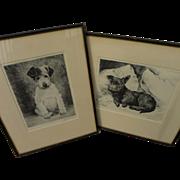 KURT MEYER-EBERHARDT (1895-1977) **pair** pencil signed dog etchings by German animal art master