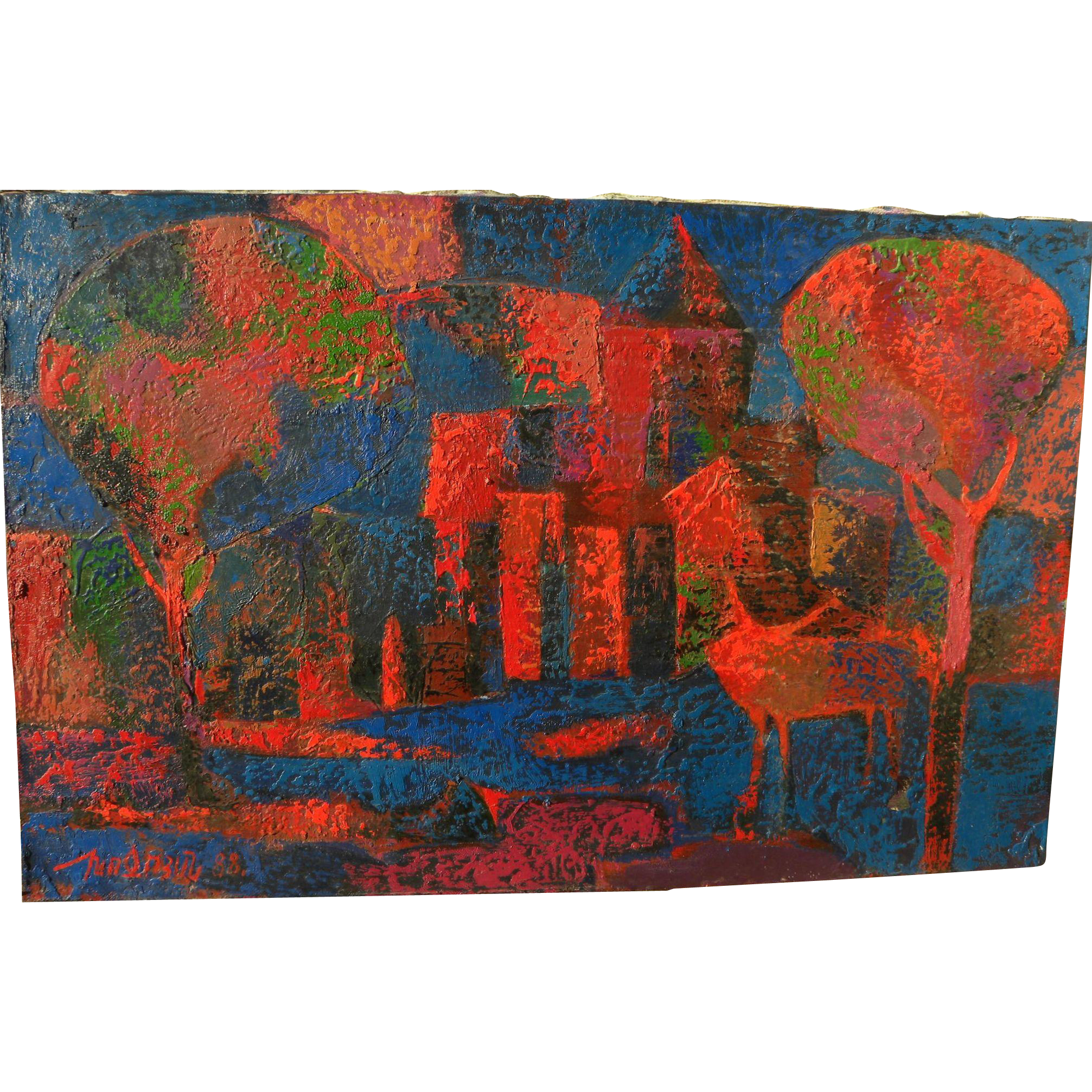 ARMEN KHOJOYAN (1959-) Armenian modernist semi-abstract 1988 painting by listed artist