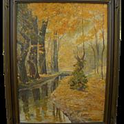 EUGENE PIERRE FRANQUINET (1875-1940) California plein air impressionist autumn landscape painting