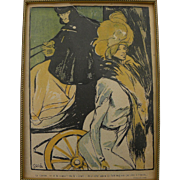 FRANCISCO XAVIER GOSE (1876-1915) original lithograph of cabman and elegant lady 1901