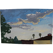 Mid century retro 1970 painting of Southern California rooftops and palms by artist Ted Goldstone