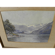 Vintage mountain landscape watercolor painting