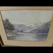 Vintage mountain landscape watercolor painting