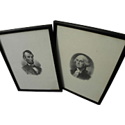 Two fine engravings of George Washington and Abraham Lincoln by Bureau of Engraving and Printing