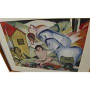 "After FRANZ MARC (1880-1916) original lithograph print ""Der Traum"" (""The Dream"")"