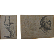 Pair Old Master engravings after Annibale Carracci (1560-1609) printed in Paris 1667