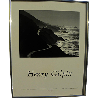 """HENRY GILPIN (1922-2011) hand signed gallery poster of """"Highway #1"""" by noted American photographer"""