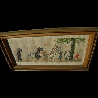 BORIS O'KLEIN (1893-1985) famed pencil signed colored print of Paris dogs in public urination scene
